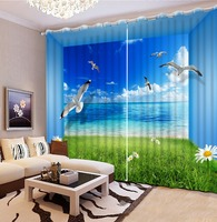 Top Classic 3D European Style Blackout Curtains For Bedroom Beach Bird 3d Curtains Blackout Curtains For