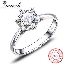 Купить с кэшбэком LMNZB Real Solid 925 Silver Rings Original Classic 1 carat 6mm SONA CZ Diamant Engagement Wedding Ring Jewelry For Women LXR040