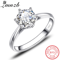 LMNZB Real Solid 925 Silver Rings Original Classic 1 carat 6mm SONA CZ Diamant Engagement Wedding Ring Jewelry For Women LXR040
