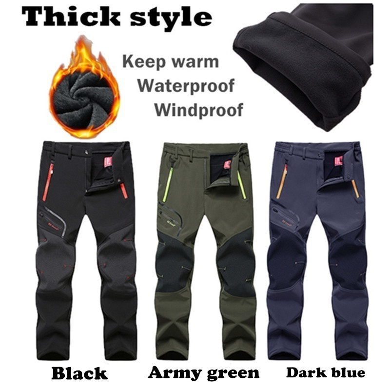 ZOGAA UNISEX Men 39 s Women 39 s Outdoor Thick Waterproof Hiking Trousers Camping Climbing Fishing Skiing Softshell Fleece Pants in Casual Pants from Men 39 s Clothing