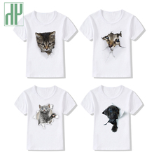 Fashion costume kids tshirt cartoon 3d cat white summer top cute toddler boys girl tops children Tees Tops baby clothes