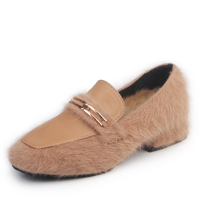Pie Suave Las Slip Piel Nuevos Bombas Dedo Zapatos Cómodo Moda Del Mujeres caqui Además Casual Negro De on Hebilla 2018 Cuadrado Invierno qxSZw8p8
