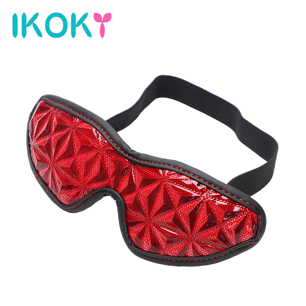 IKOKY Sex Eye Mask Blindfold Diamond Pattern SM Bondage Sex Toys For Couple Adult Games Slave Party Erotic Toys PU Leather