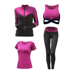 Image 2 - New Womens Sportwear Solid Yoga Sport Suit Breathable Gym Set Female Bra T shirt Shorts Pants Workout Fitness Clothes Tracksuit
