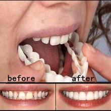 Горячая отбеливающая Кнопка идеальная улыбка зубы поддельные зубные покрытия на улыбку мгновенные зубы косметические зубные протезы уход для верхней один размер подходит