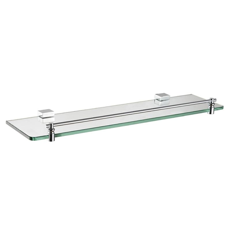 Rectangle Single Glass Shelf Brass Wall Mounted Luxury Modern ...