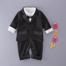 Маленьких мальчиков Господа Свадебный комплект одежды черный галстук-бабочку комбинезон с длинными рукавами+ куртка костюм Menino de Roupas de Bebe