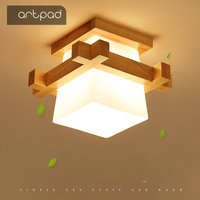 Artpad Tatami Japanese Ceiling Light for Home Lighting Glass Lampshade E27 LED Ceiling Lamp Wood Base Hallways Porch Fixtures