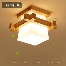 Artpad luz de techo japonesa Tatami para iluminación del hogar, pantalla de cristal, lámpara de techo LED E27, accesorios para porche, con Base de madera
