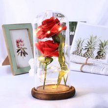 Artificial Rose Flowers with Glass Cover LED Light String Gift Women Girls on Birthday Holiday Christmas Powered by Batteries(China)