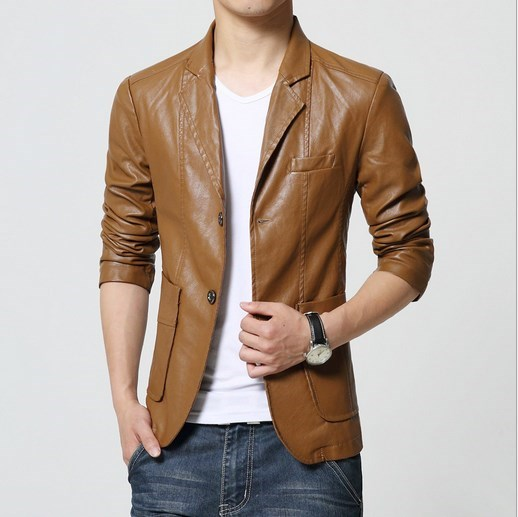 Mens Red White Black Brown Khaki Leather Blazer for Men Slim Fit Pu Leather Jacket Business Casual Blazer Male Plus Size 5XL 6XL in Jackets from Men 39 s Clothing