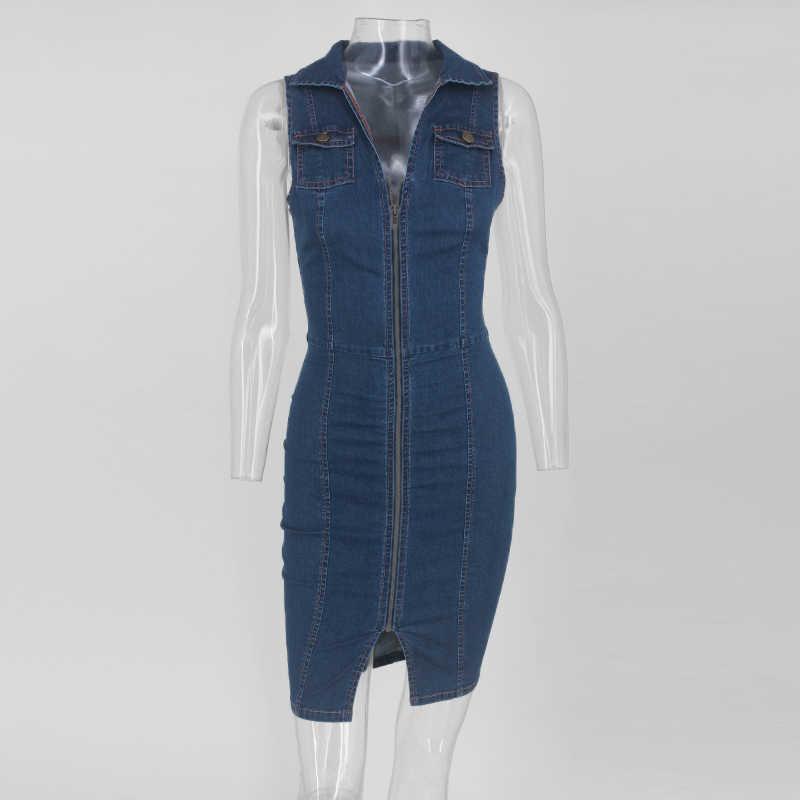 Beyprern высокое уличное платье без рукавов с отложным воротником из джинсовой ткани для женщин Сексуальная молния спереди оболочка винтажные синие джинсы Vestido Клубная одежда
