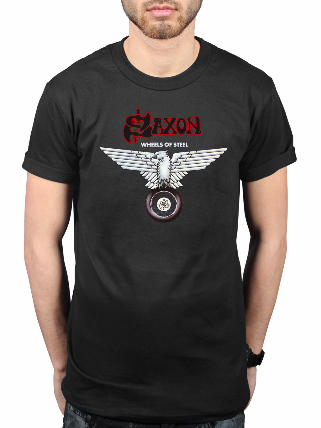 Male Best Selling T Shirt Official Saxon Wheels Of Steel T-Shirt Heavy Metal Band Merchandise