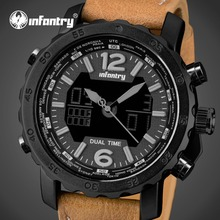 INFANTRY Mens Watches Luxury Brand LED Display Analog Digital Sport Watches Leather Strap Aviator Military Clocks Relojes Hombre