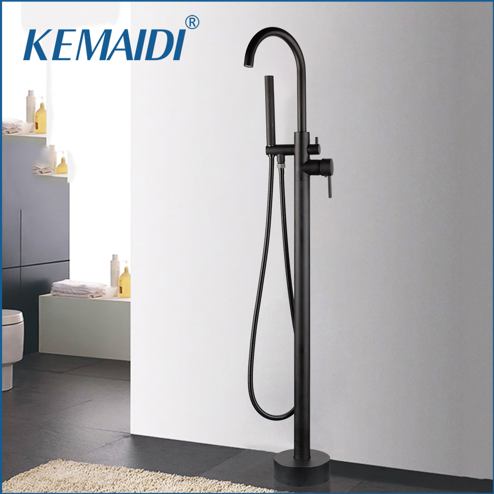 KEMAIDI Luxurious Black High Rise Round Spout Bath Mixer Tap Floor Mounted Bathtub Filler Shower Roman