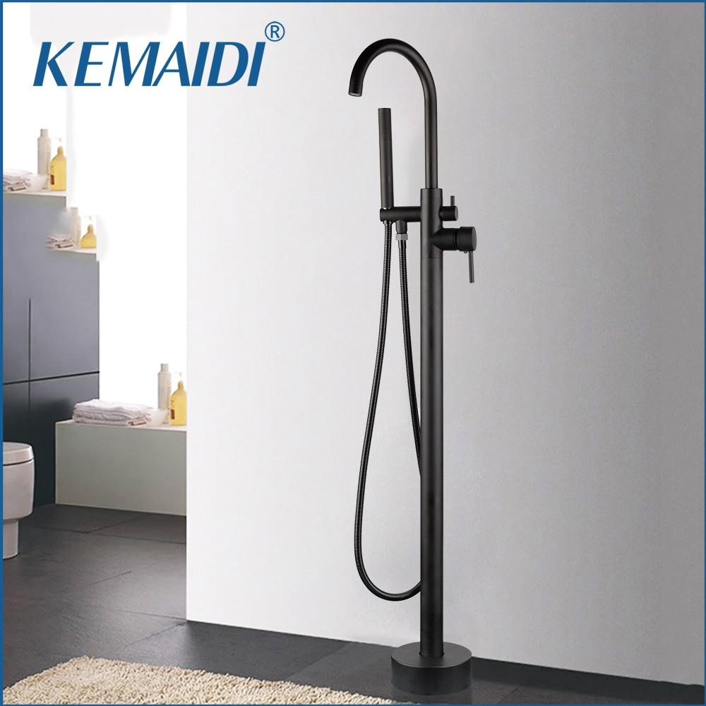 Kemaidi Luxurious Black High Rise Round Spout Bath Mixer
