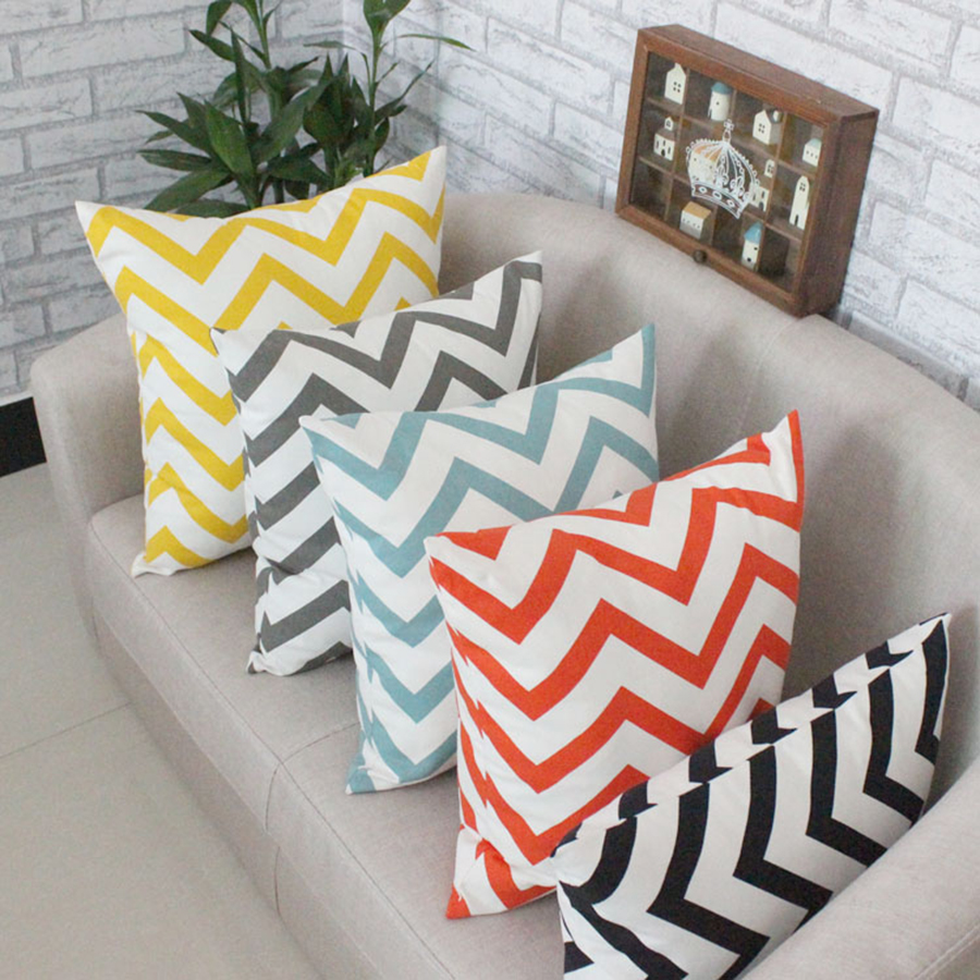 Cojines Tiger.Us 12 49 Simple Wave Cotton Square Throw Pillows Deco Cushions Sofa Tiger Paris Decoration Pillowcase Back Cushions For Car Seat Ddjx93 In Cushion