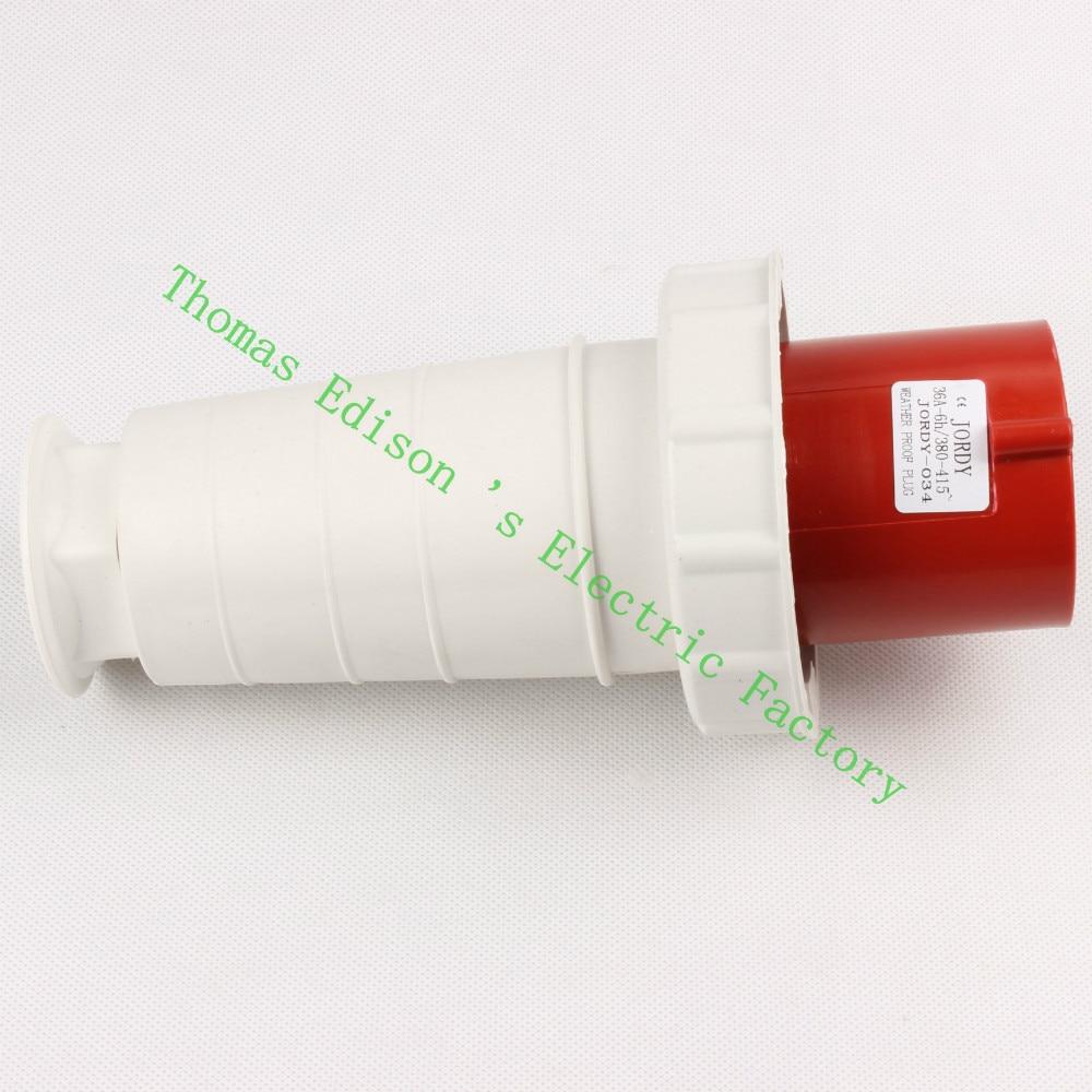 Industrial Plug Socket Coupler 034 CNQD-034 Red 63A 220V~415V 3P+E 4pin 10PCS/carton abb industrial connector four pole mobile industrial plug 63a 363p6