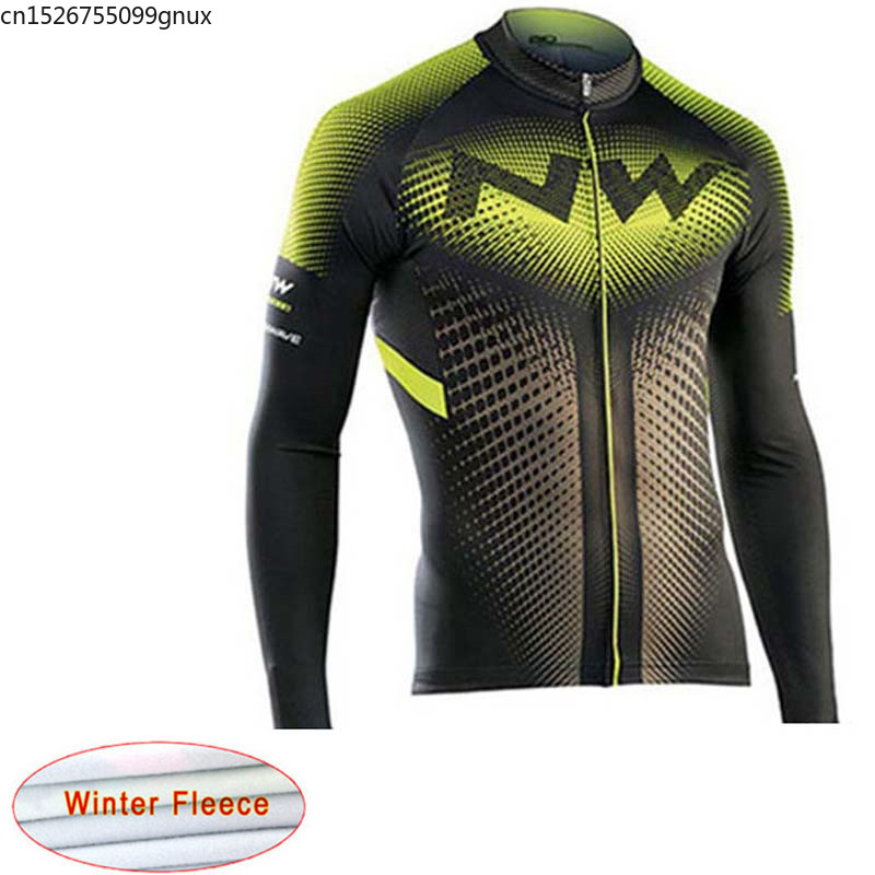 NW 2019 Winter Keep Warm Cycling Jersey Thermal Fleece Bike Long sleeve Racing Cycling Clothing Maillot Ropa Ciclismo Hombre C28(China)