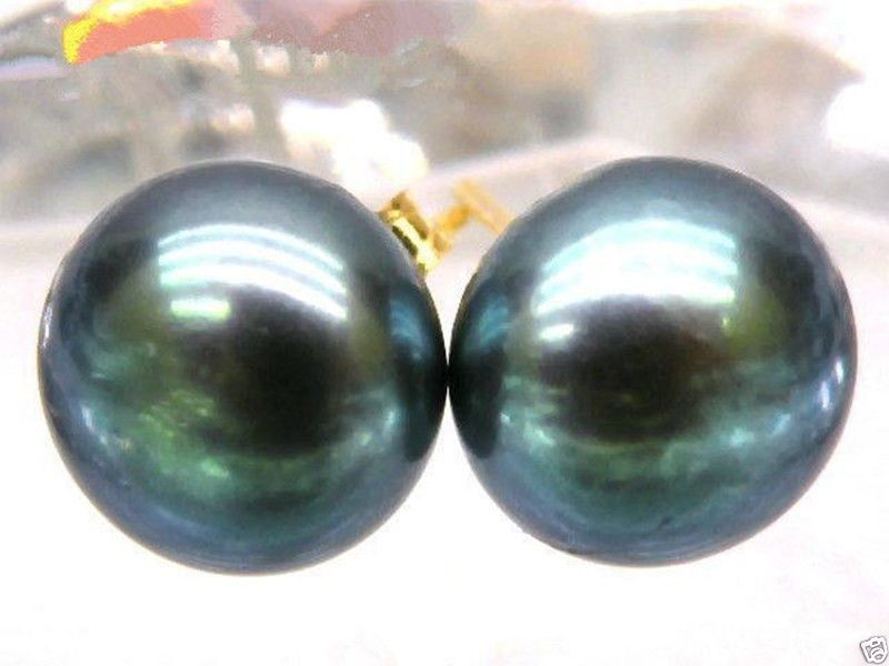 14K Gold Silver White Baroque South Sea Cultured Pearl Stud Earrings 10-10.5mm