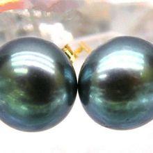 Хит идеальные 10-11 мм черный павлин зеленый Южное море жемчуг 14 К/20 золотые серьги