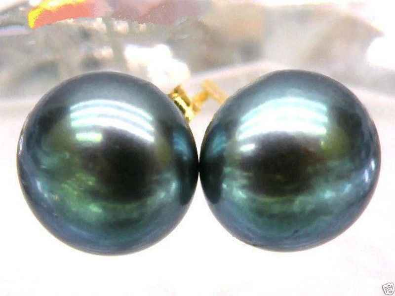 free shipping HOT Perfect 10-11mm BLACK Peacock Green South Sea Pearl 14k/20 Gold Earrings