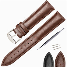 цены Genuine Leather Watchband 14mm 16mm 18mm 20mm Universal Watch Band Steel Buckle Clasp Strap Wrist Belt Bracelet + Tool