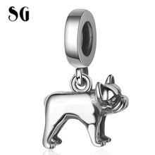 SG New 100% 925 sterling silver Human friend vivid Bulldog Charms Animal Pendant beads Fit pandora Bracelet for Women Gifts