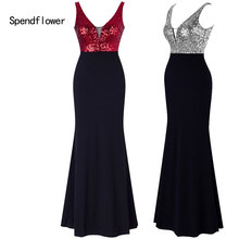 Women's Sparkling Sequin Elegant Evenging Gown,Spendflowe rV-neck Sexy Open back