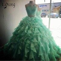 Красивые мятно зеленые вечерние платья в сборку для девочек, вечерние кружевные платья с кристаллами для выпускного вечера, 2 предмета, Плат