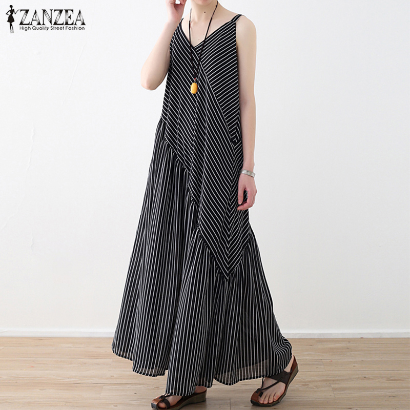 2019 ZANZEA Casual Striped Rompers Women   Jumpsuit   Sexy V Neck Strap Patchwork Pantalon Female Wide Leg Pants Lady Overalls S-5XL