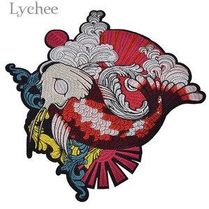 Lychee 1 шт., патчи с вышивкой в виде карпа для одежды, японский стиль, аппликации для футболок, ручная работа, шитье