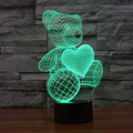 The Cartoon Cute Heart Bear Shape LED Lamp 3D Baby Night Light Christmas Light Promotion Colorful Nightlight Led Gift Table Lamp