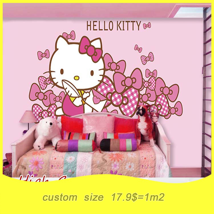 Free Shipping A Large Mural Cute Pink Cat Wallpaper Theme