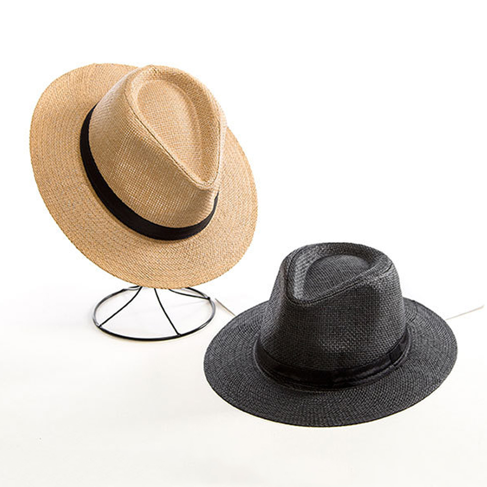 Summer Straw Hat For Men Women Sun Beach Hat Elegant Jazz Panama Hats Fedora Wide Brim Sun Protection Cap With Black Belt