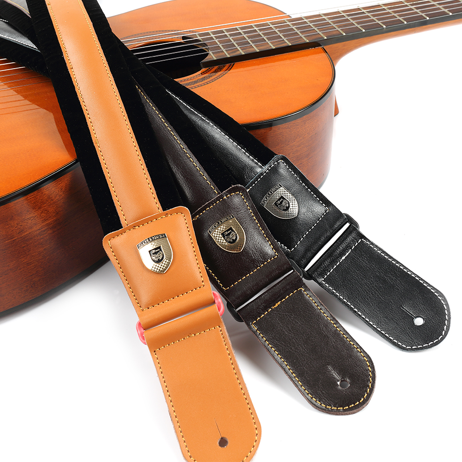 High Quality Leather and Nylon Guitar Strap for Electric Bass Guitar Adjustable Padded Soft Belt Black Brown Yellow Color new high quality professional guitar strap 100