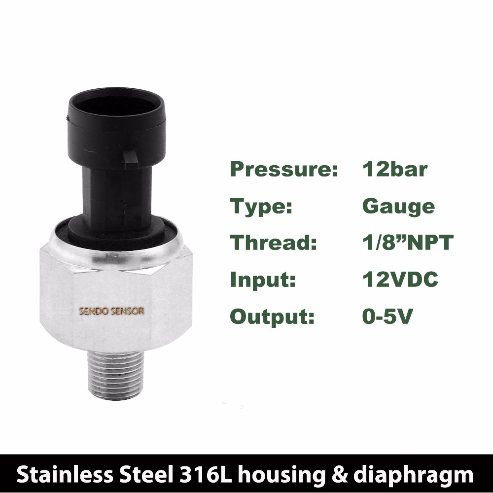0 174 psi 0 to 5V output, gas, oil, water pressure sensors, stainless steel 316L, oil filling, 1 8 NPT thread, O-ring sealed цена