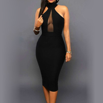Summer Dress Sexy Women' Bodycon Off Shoulder Crew Neck Party Evening Black Knee-Length Dress New Elegant Vestido