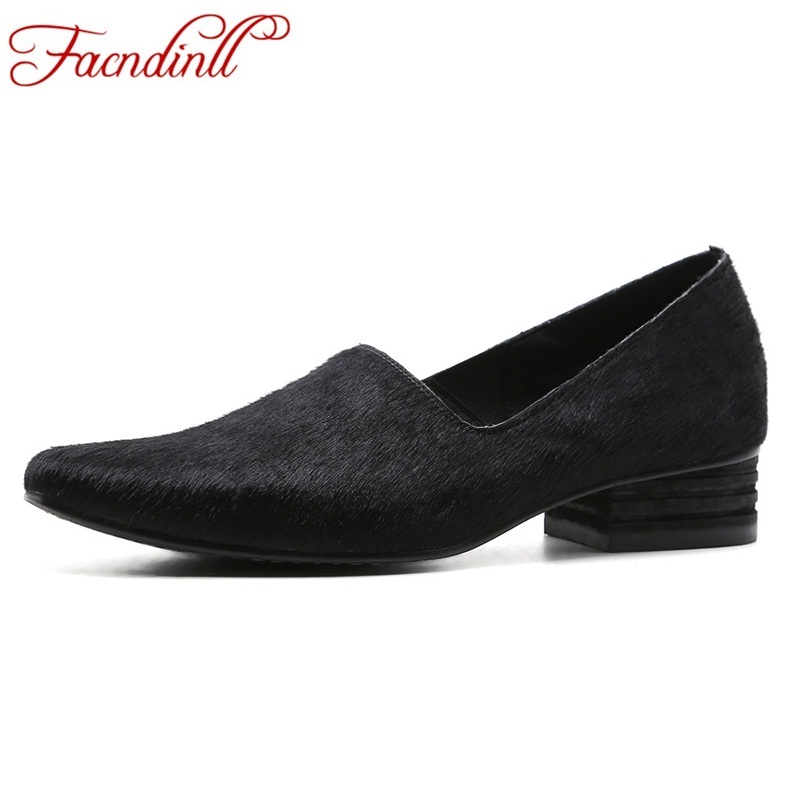 FACNDINLL 2018 new spring high quality women pumps shoes med heels round toe black shoes woman dress party casual shoes pumps facndinll shoes 2018 new fashion genuine leather women pumps med heels pointed toe shoes woman dress party casual black pumps