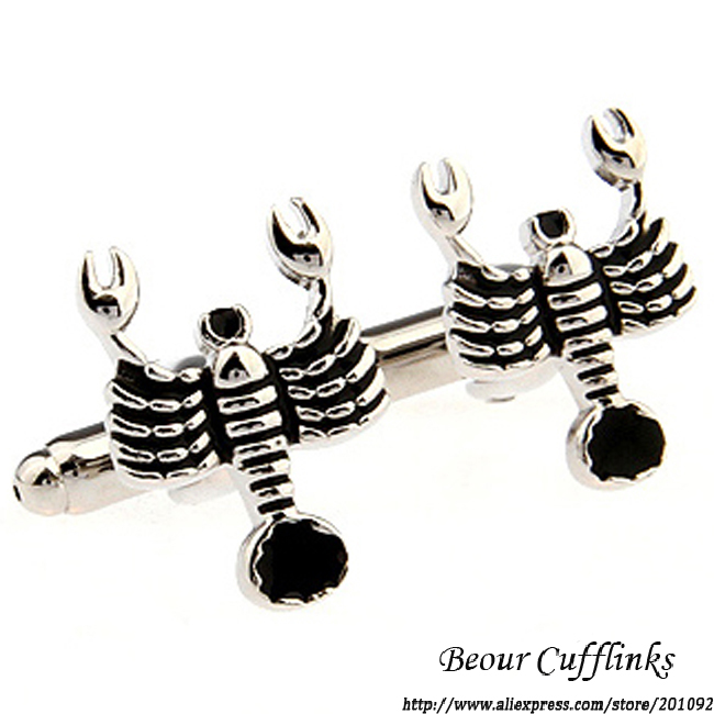 High quality Mens Jewelry wedding cuff links Funny Metal Scorpion cufflinks for shirt cuff link brand