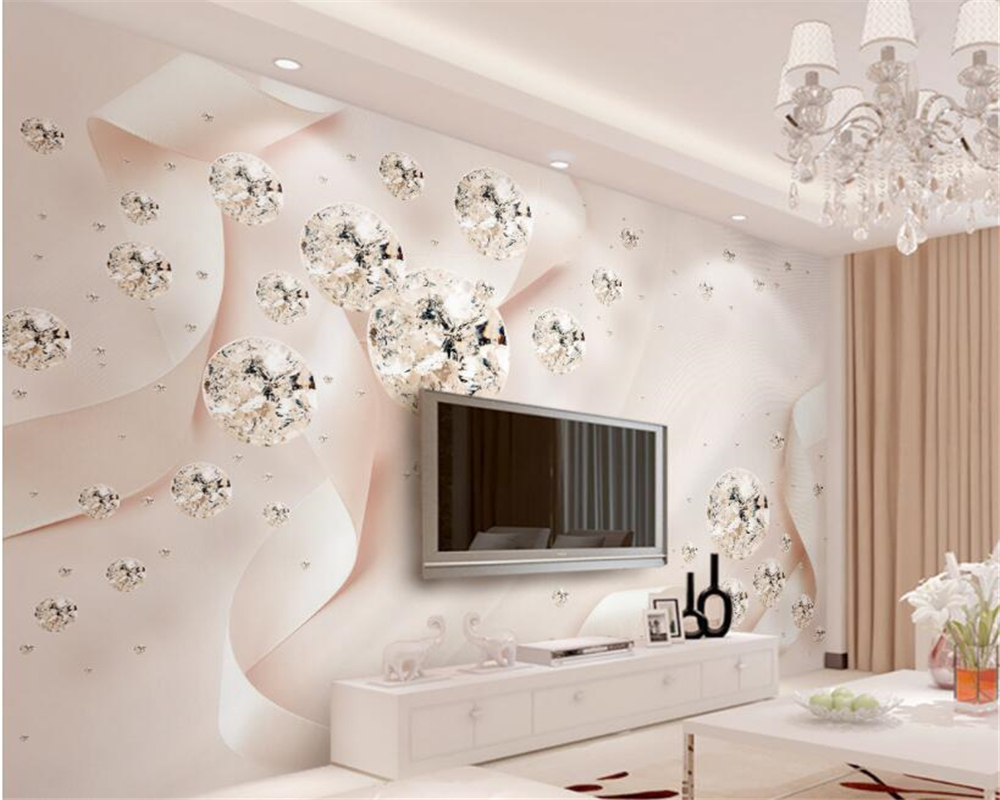 wall paper home decor Pink ribbon crystal ball jewelry TV background wall Custom 3D photo wall mural Wallpaper beibehang beibehang colorful circle tv background 3d flooring wall paper mural rolls photo wallpaper for wall 3 d hotel livingroom bedroom