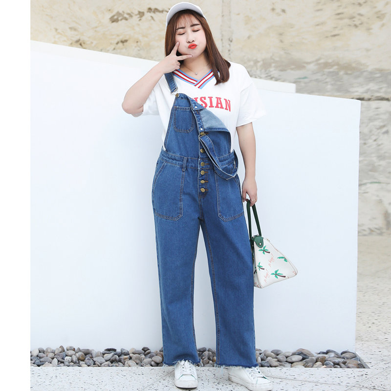 Jeans Recto Primavera Tamaño Overoles Suelto Denim Mono Mamelucos Plus Estilo Para Blue Mujeres Verano 5xl C5250 BwBFqz