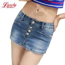 Denim Skorts Shorts Skirt Woman 2017 New Fashion Double Button Slim Sexy Ladies Shorts Jean Plus Size S-3XL Short Jeans