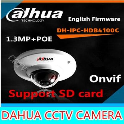 Dahua IPC-HDB4100C 960P 1.3Megapixel IR Network Dome Camera IP Camera HDB4100C 2.8mm lens support POE SD card storage wholesale dahua dh ipc hdbw4233r as 2mp ir mini dome network ip camera ir poe audio sd card stellar h265 h264 ipc hdbw4233r as