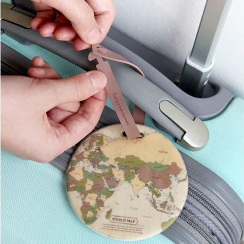 Travel Accessories Luggage Tag Fashion Map Silica Gel Suitcase ID Address Holder Cute Baggage Boarding Tag Portable Label