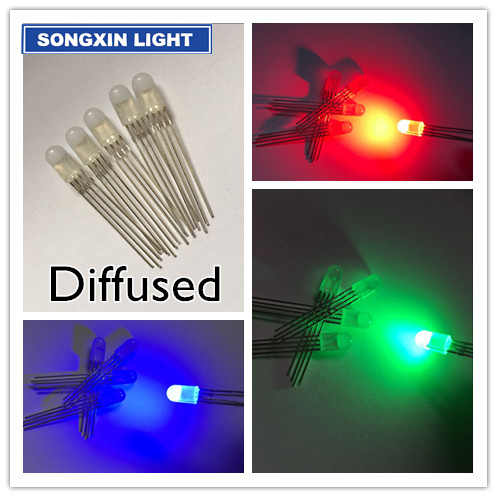 50pcs 5mm 4pins RGB LED Common anode / CATHODE Tri-Color Diodes Diffused 5MM  full-color LED RGB red/green/blue