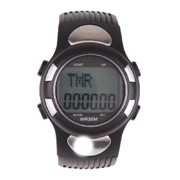 New Arrival 3D Pedometer Heart Rate Monitor Wristwatch With Backlight Silver