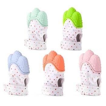 Baby Teether Salient Design Pacifier Glove Nursing Help Teething Self-Soothing Mouth Care Polar Fleece Surface Hook Loop T0400 1