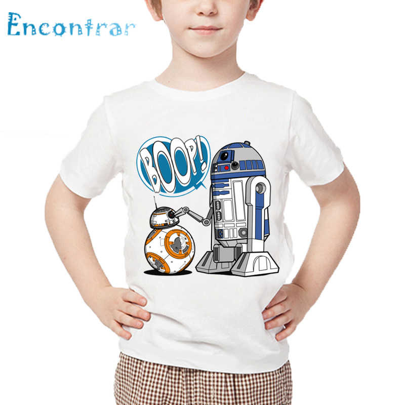 Children Star Wars Robot R2-D2 with BB-8 Funny T shirt Baby Boys Girls Short Sleeve Summer Tops Kids Casual T-shirt,HKP5193 retrofit headlights cover 2 5for h1 mini projector lens silver gatling gun shroud [qp379]