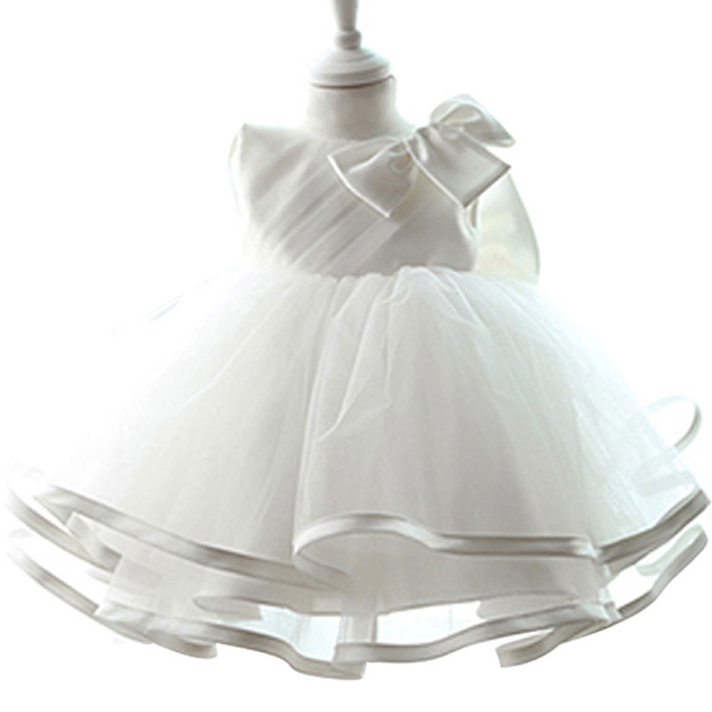 White Girl Princess Dress Kid Baby Sleeveles Pageant Wedding Tutu Dresses 0-6TWhite Girl Princess Dress Kid Baby Sleeveles Pageant Wedding Tutu Dresses 0-6T